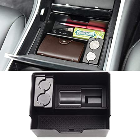 BASENOR Tesla Model 3 Y Center Console Organizer Tray Accessoies with Coin and Sunglass Holder for Tesla Model 3 Fit model 3 2016 2017 2018 2019 2020 model Y 2020