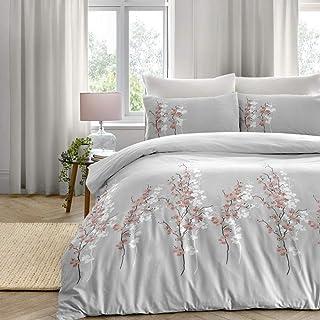 Dreams & Drapes Oriental Easy Care - Juego de Funda de edredón (polialgodón, tamaño King), diseño de Flores Rosas sobre Plata,