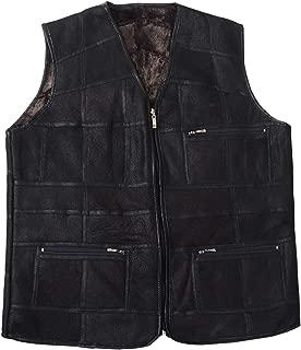 Men's Faux Leather Vest Winter Warm Fleece Lined Vest Zip Up Gilet