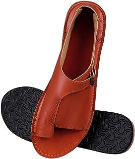 Women'S Sandals,Orange Women Shoes Soft Faux Leather Women Sandals Female Flat Sandals Women Casual Summer Beach Shoes Female Buckle