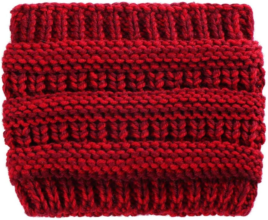 ZFCMIAO Women Knitted Headbands Winter Warm Head Wrap Wide Hair Accessories Hat Girl Head Wrap Wide Ear Warmer Hairband Girls-Wine_One Size