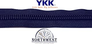 YKK #10 Zipper coil chain. Chain only without slides. Sold by the yard or in lots of 5 yards, 10 yards and 25 yards. (Navy, 1 yard)