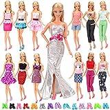 Barwa 20 Éléments = 10 Ensembles Mode Décontracté Vêtements/tenue avec 10 Paire Chaussures pour Poupée Barbie Mélangées Au Hazard Style Cadeau De Noël