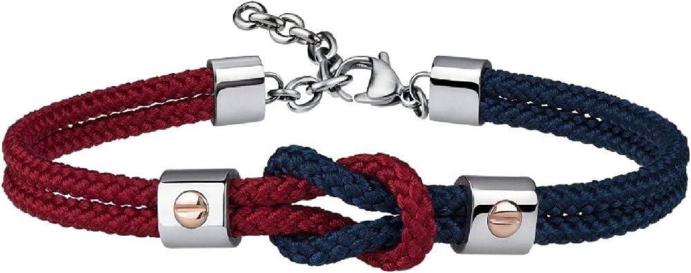 Breil, bracciale per uomo, in acciaio e cordura, con dettagli preziosi in oro 9k, blu-rosso
