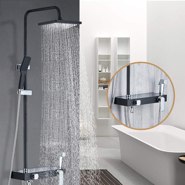 XSGDMN Intelligente Digitalanzeige Wandbrausegarnitur Schwarz Badezimmer Quadrat Duschkopf Wasserhahn Dusche Kupfer Hauptkrper Multifunktionsbrausegarnitur