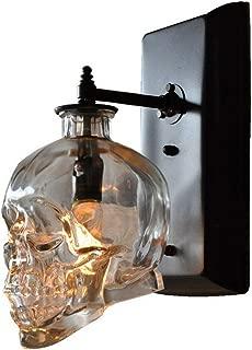 ZSAIMD Retro Loft Skull Bones Wall Lamp Sconces Clear Glass Bottle Wall Light Fixtures for Dinning Room Bar Industrial Home Wall Sconce Glass Lantern 1 Light E14 Edison