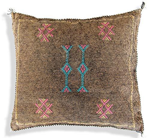 Poefs & Kussens Marokkaanse Sabra zijden kussensloop Vierkant - Handgeweven - 100% natuurlijke Sabra zijde - 50x50 cm