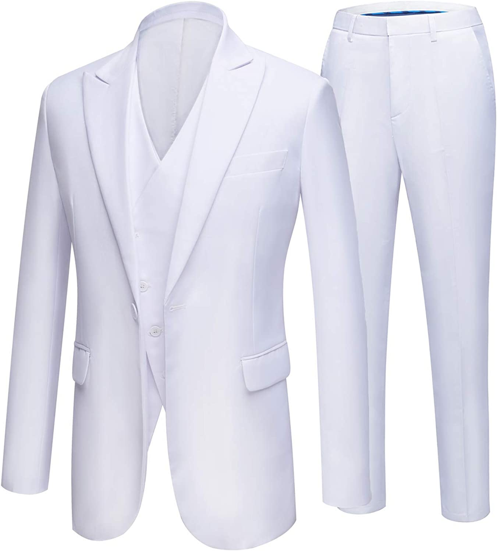 Men's Suit 3-Piece One Button Blazer Jacket Flat Front Pants Wedding Groom Suit