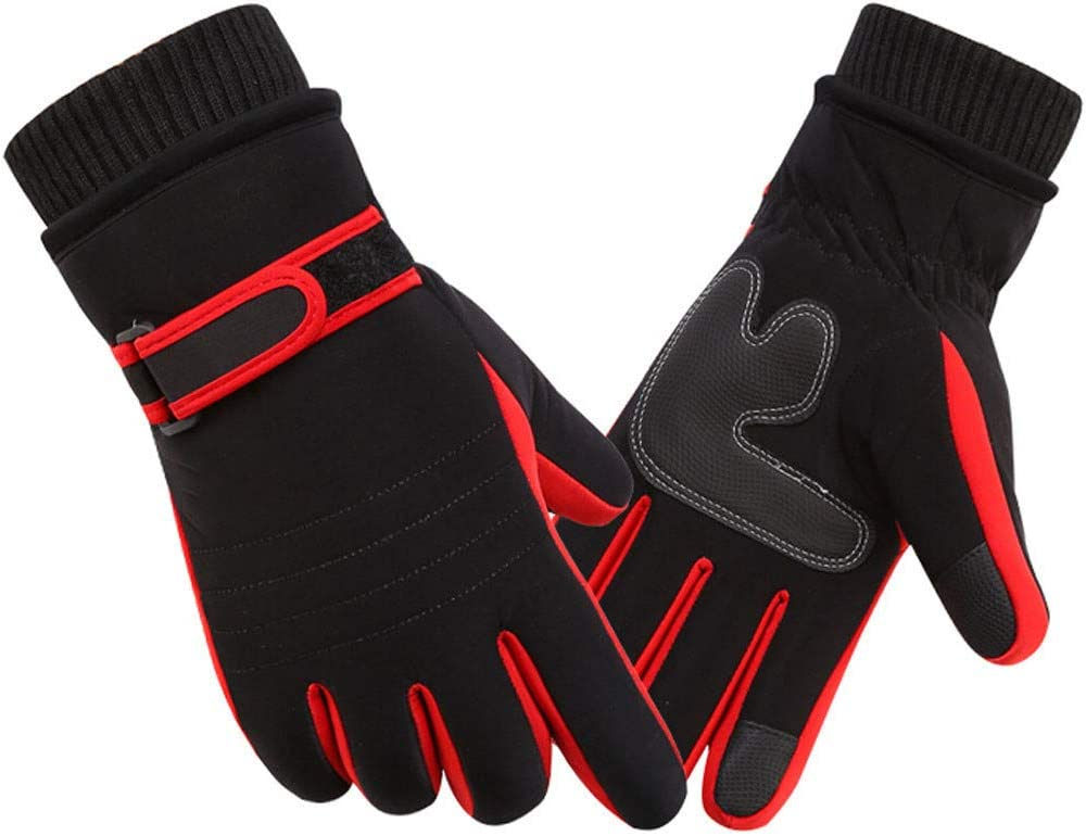 Shotbow Touch Screen Warm Mittens Thermal Winter Warm Men Windproof Ski Snow Snowboard Gloves, Soft and Comfortable Texting Thick Full Gloves, Christmas Holiday Men Gloves Gifts (Red)