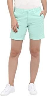 KVL Womens Cotton & Elastane Woven Solid Shorts - Green