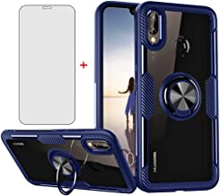 Phone Case for Huawei P20 Lite with Tempered Glass Screen Protector Clear Cover and Stand Ring Holder Slim Hard Cell Acces...