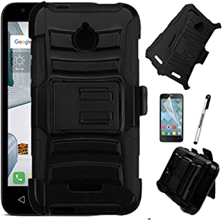 For Alcatel Pixi 4 (4.5') Case, Phonelicious Xtreme Armor [Heavy Duty] Hybrid Dual Layer Kickstand Belt [Holster Clip] Combo Rugged Tuff+ Screen Protector & Stylus (BLACK)