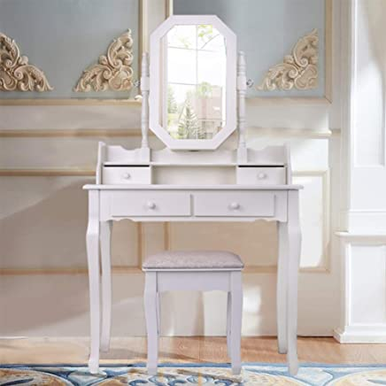 Coiffeuse En Bois Massif, Table Minimaliste Moderne Et Tabouret Avec Miroir  Combiné, 4 Tiroirs