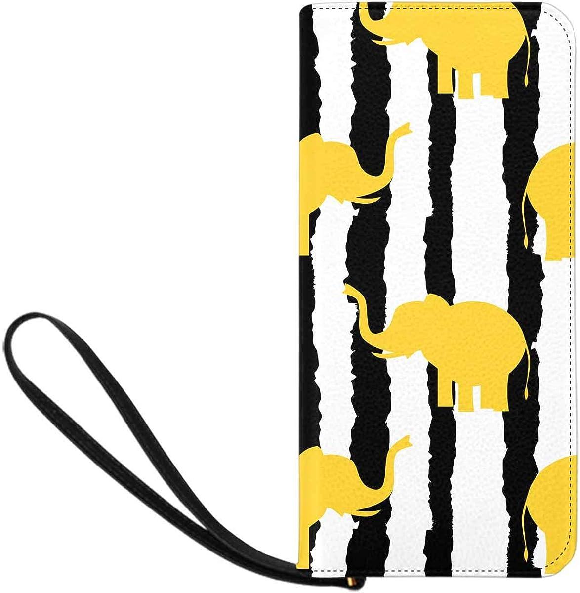 INTERESTPRINT Cute Yellow Elephants Silhouette Credit Card Wallet Clutch Purse, Huge Storage Capacity