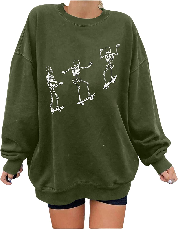 Womens Skull Graphic Print Long Sleeve T Shirt Tops Casual Loose Pullover Sweatshirt