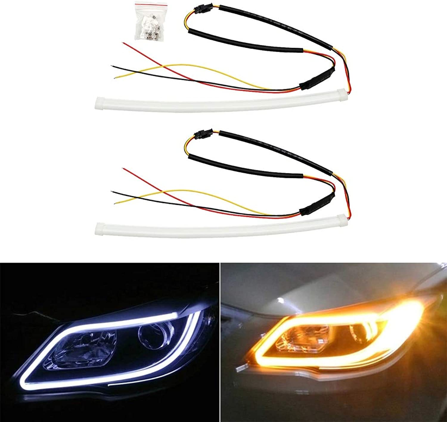 DaphotStore  2x30cm Angel Eye LED Car DRL Daytime Running Light Auto Turn Indicators Signal Lamps Single Dual color Waterproof CarStyling