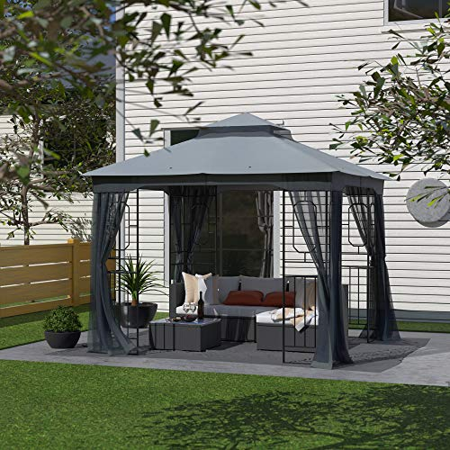 of all year round gazebos dec 2021 theres one clear winner Garden Gazebo Polyester Fabric 10' x 10' Patio Backyard Double Roof Vented Gazebo Canopy with Mosquito Netting, Dark Gray
