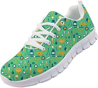 chaqlin Chaussures de course légères à lacets pour homme et femme avec imprimé médical - Baskets plates tendance avec lace...