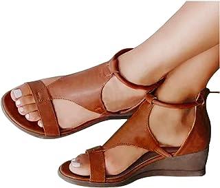 Chaussures pour Femmes, Sandales pour Dames, Talon Compensé, Fermeture à GlissièRe, Chaussures Simples à Bouche De Poisson...