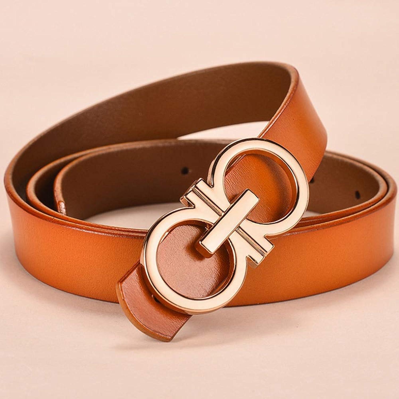 DENGDAI Women's Belts,Belt,Double G Design Belt Girl Leather GG Buckle 2.3 cm Wide Jeans