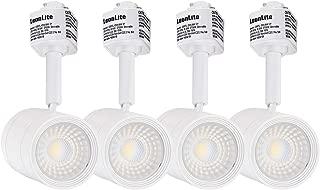 LEONLITE 4-Pack 8.5W (50W Eqv.) Integrated CRI90+ LED White Track Light Head, Dimmable 38° Spotlight Track Light, 550lm Energy Star & ETL Listed, for Wall Art Exhibition Lighting, 2700K Soft White