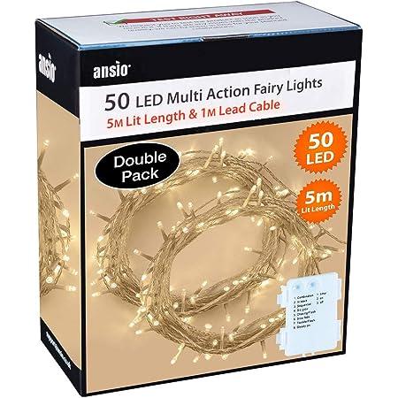 50 DEL Blanc Chaud chaîne fée lumières Batterie Timer 8 modes de Noel DECOR