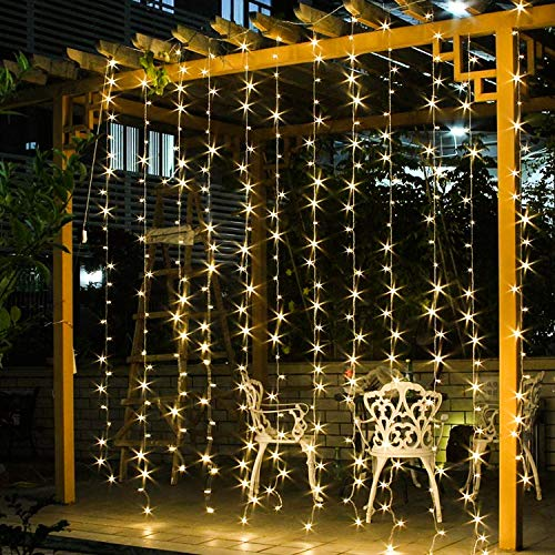 jar-owl Solar Curtain String Lights 300 LED Window String Lights with 8 Modes Remote Controller Decorative Lighting for Christmas Home Garden Patio Lawn Party Holiday Outdoor Decor (Warm White)