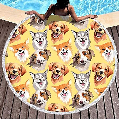 Toalla de playa de microfibra para perro con borlas, con flecos de color blanco, toalla con borlas, toalla multiusos súper suave, súper absorbente, longitud 122 cm.