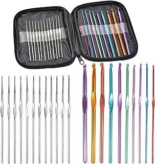 JAOMON Aiguilles à Tricoter 21Pcs, Aiguille à Crochet Colorées en Aluminium et Crochets de Tricot en Acier Inoxydable, Cro...