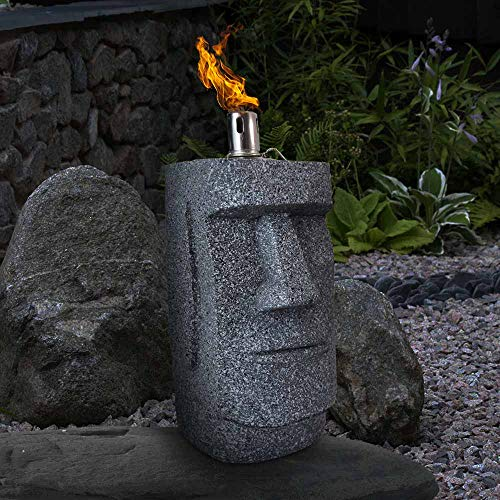 HTI-Living Öllampe Moai-Figur Gartenfackel