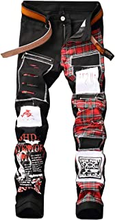 Shunht Men's Leisure Slim Fit Pattern Patch Denim Punk Rocker Biker Jeans