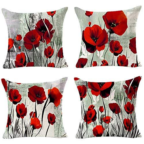 QINU KEONU Set 4 Blooming Charming Poppy Flower Cotton Linen Throw Pillow Case Cushion Cover Home Sofa Decorative 18 X 18 Inch (Peach Blossom)