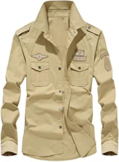Hombre Camisas Manga Larga Militar Estilo Color Sólido Camiseta De Acampada Y Senderismo – Camisa Hombre Manga Larga Botón...