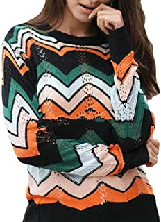 Women's Pullover Jumper Crewneck Rainbow Color Striped Knit Sweater