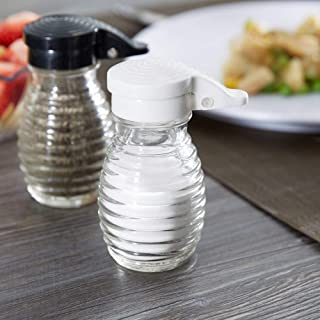 Moisture Proof Beehive Salt And Pepper Shakers | Black And White Hinged Flip Top | No Spill | No Clog | 2 OZ Set Of 2