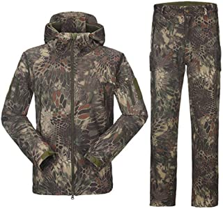 Man Winter Outdoor Hunting Sets Waterproof Softshell Tactical Camouflage Hunting Jackets +Military Pants Suits