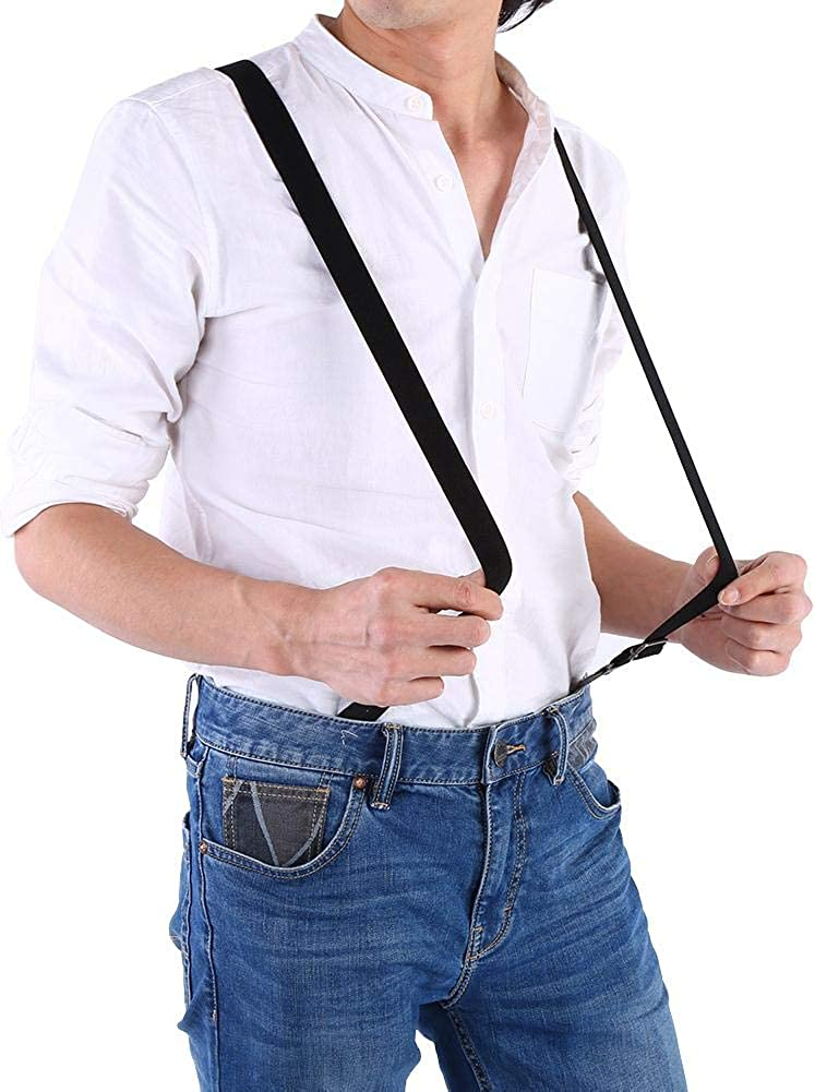 Elastic Suspenders 2 Colors Men Women Suspenders Solid Adjustable Elastic Band Button Buckle Pants Trousers Braces