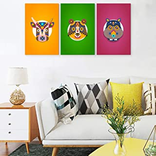 BTJC88 Décoration murale en forme d'animal pour enfants - Impression sur toile - Illustration rétro pour salon de spa - 3 ...