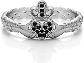 diamond pave claddagh ring