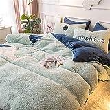 BGSFF Funda de edredón de 4 piezas, imitación de terciopelo cordero, terciopelo coral, doble cara, acolchado de cama, sábanas de invierno de terciopelo Fale *2 (F 1,200 x 230 cm)
