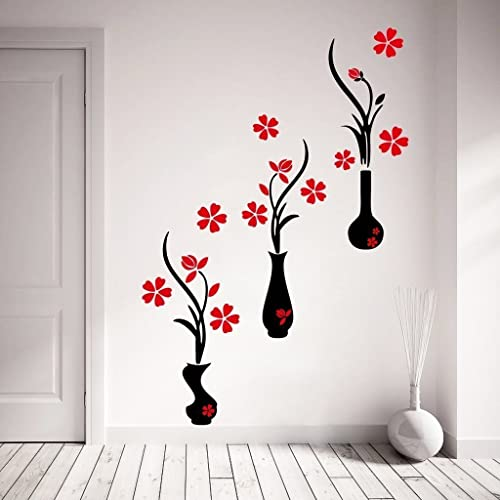 Decor Kafe Red And Black Flower Pots Wall Sticker Standard Size- 107Cm X 125Cm Color- Multicolor