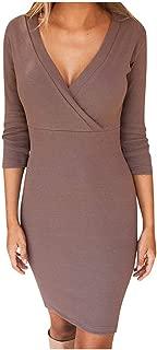 Women Cross V-Neck Long-Sleeve High-Elastic Waist Bodycon Dress Pocket Daily Casual Work Dresses