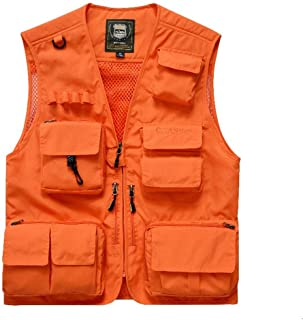Men's vest Fashion Coat Breathable vest Comfort Jacket Multi-Pocket vest (Color : Orange, Size : XXXL)