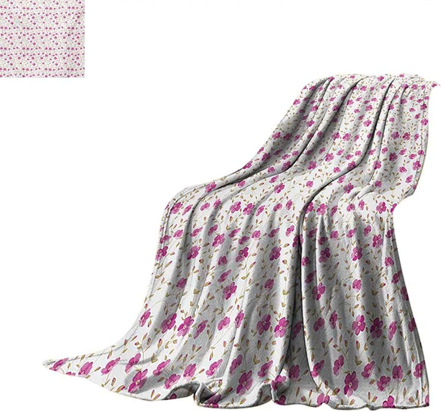Flowertravel blanketPeony in Vintage Style Girly Sweet Curly Stems Happy Times Engagement Themethrow Blanket for Couch 62 x60  Pink Reseda Green