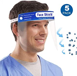 Safety Face Shield, MKBOO 5 PCS Full Face Protect Eyes and Face Plastic Face Shield Anti-Saliva Windproof Dustproof Safety Face Shield with Eye & Head Protection For Women Men