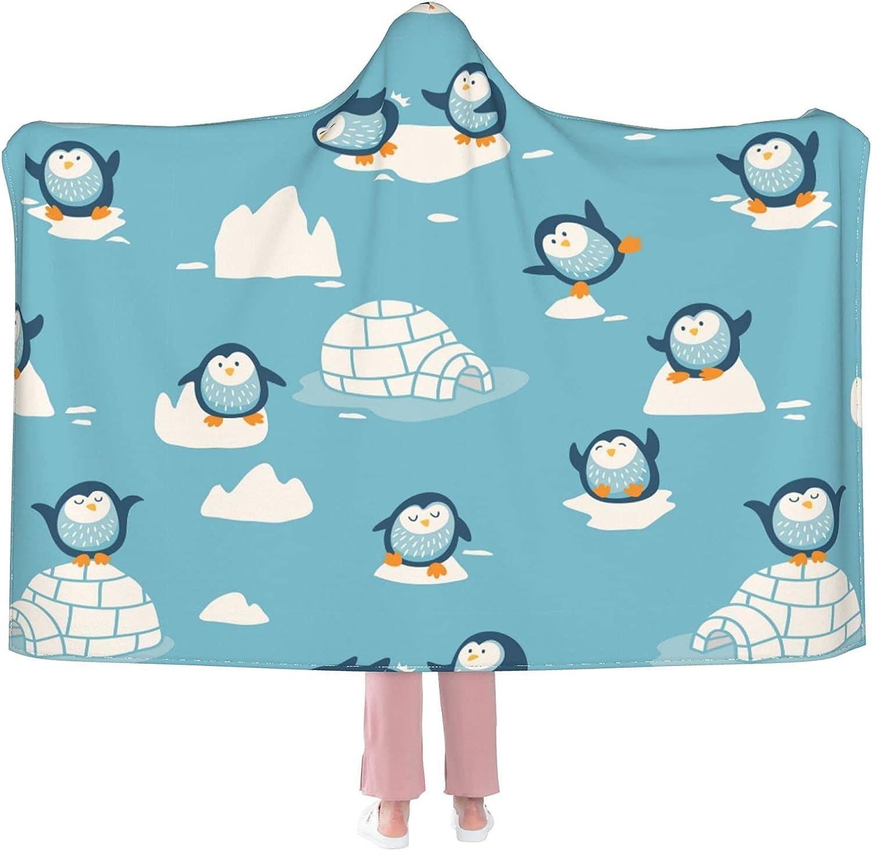Cute Penguins On Super Special SALE held Ice Wearable Bl Over item handling ☆ Blanket Flannel Hooded