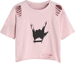 SheIn Women's Summer Short Sleeve Tee Distressed Ripped Crop T-Shirt Tops