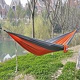 OuterEQ Portable Parachute Nylon Fabric Travel Camping Hammock Grey & Orange