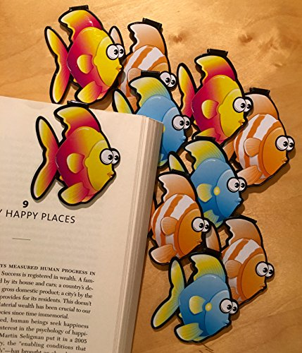Fish Bulk Bookmarks Set of 10 Bulk Bookmarks for Kids Girl's boy's Teens. Perfect for Gifts, Student Incentives, Birthday Party Favors, Reading Incentives, Awards and Promotions!