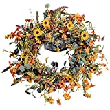 """Fall Floral Wreath,24""""Artificial Autumn Wreath Daisy and Lavender Wreath for Front Door Home Farmhouse Decor and Thanksgiving Harvest Festival Celebration"""